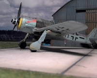 "FW-190 F8 vor dem Hangar aus Resin der Fima ""Realityinscale"""