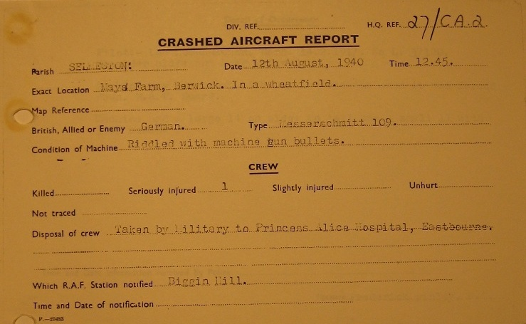 Crash Report Bf-109 E1 Leo Zaunbrecher