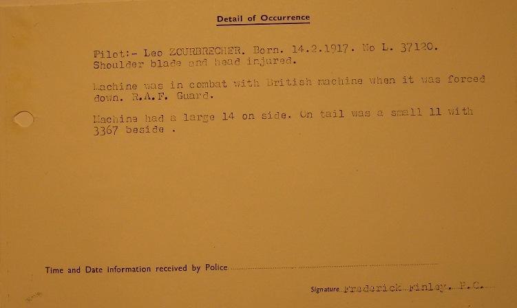 Crash Report Bf-109 E1 Leo Zaunbrecher